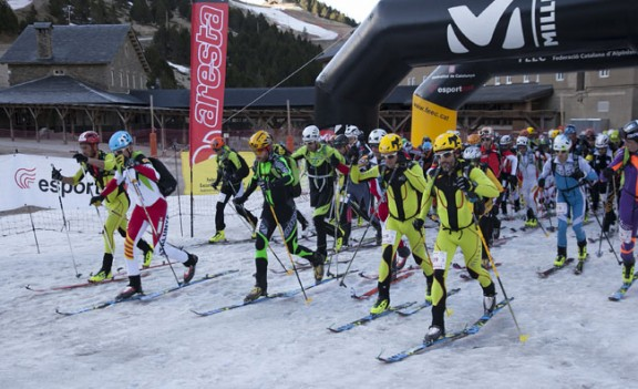 Mountain ski competition weekend in Vall de Núria