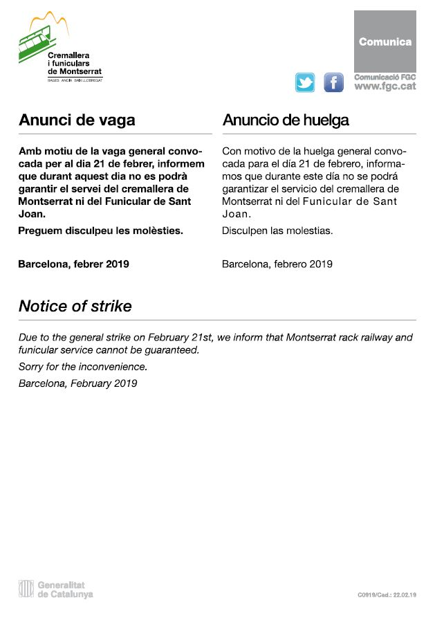 Notice of strike - February 21